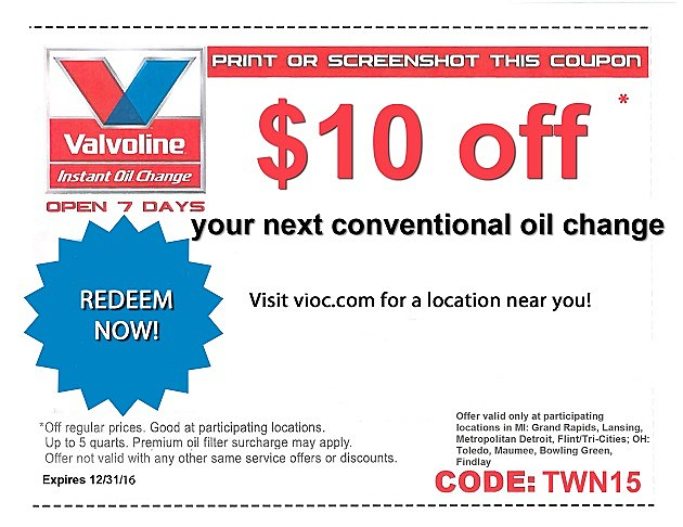 Valvoline instant oil change coupon 10