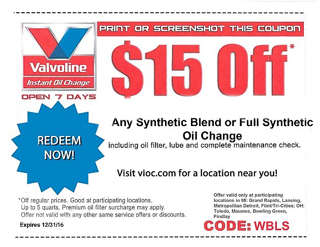 Coupon valvoline oil change
